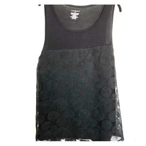 Swirl lace overlay tank top